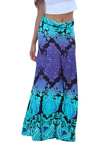 AlvaQ Womens Sexy Coral Print Circle Beach Long Maxi Skirt Small (Sexy Coral)