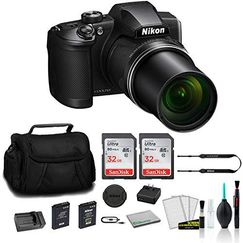 Nikon COOLPIX B600 Point & Shoot 60x Zoom Digital Camera Black 26528 Bundle with 2X 32GB Memory Card + Spare Battery and Travel Charger