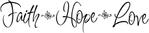 Faith Hope Love Quote Wall Decal Sticker, Creatiee Removable DIY Vinyl Bible Verses Wall Decor Art Mural for Home Living Room Bedroom - Inspirational & Home Warming Gift