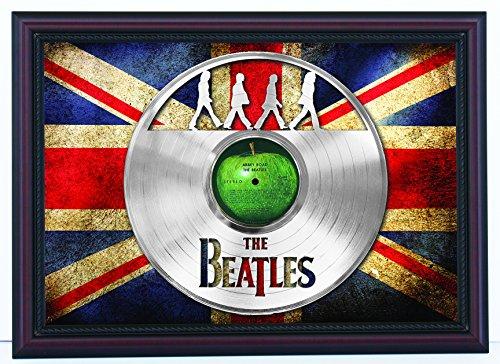 "Beatles Abbey Road laser cut Platinum LP custom framed flag display, limited edition ""K1"""