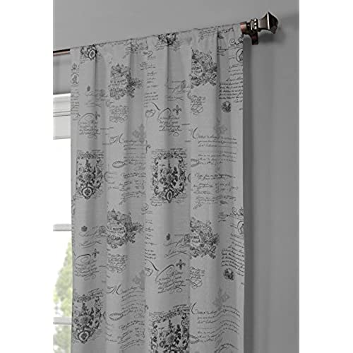 Window Elements Fleur De Lis Printed Cotton Extra Wide 104 X 96 In. Rod  Pocket Curtain Panel Pair, Dark Grey