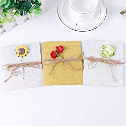 1PCS Creative DIY Paper Card Greeting Card Vintage Kraft Paper Handmade Flower Greeting Card Wedding Party Invitation Card (Mix Color)