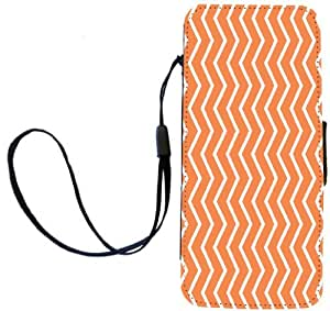 Rikki Knight Autumn Orange Zig Zag Stripes Flip Wallet Case with Magnetic Flap for Apple iPhone 5 and 5s