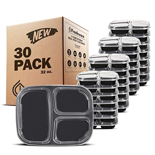 Freshware YH-3X30C Meal Prep [30 Pack] 3 Compartment with Lids Food Storage Containers, Lunch BPA Free | Stackable | Bento Box, Microwave/Dishwasher/Freezer Safe, 32 oz,