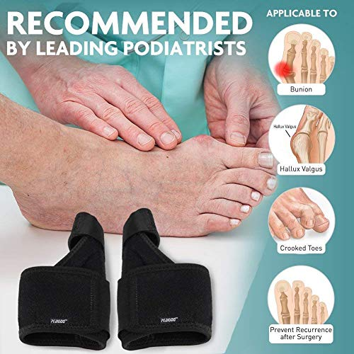 Bunion Corrector Bunion Relief Kit (Bunion Splints,Gel Toe Protect Separator Sleeves&Toe Separators) for Hallux Valgus-Day/Night Time Support for Men&Women (M-L (Foot Circum. ≥ 9'')) by PediGoo