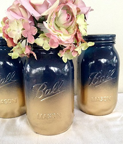 Set of 2 Navy Blue and Gold Painted Mason Jars Centerpieces Nautical Baby Shower Decor Rustic Fall Wedding Supplies Shabby Chic Decorations (Nautical Wedding Centerpiece)