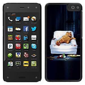 A-type Arte & diseño plástico duro Fundas Cover Cubre Hard Case Cover para Amazon Fire Phone (Gracioso - Lazy Garf Gato)