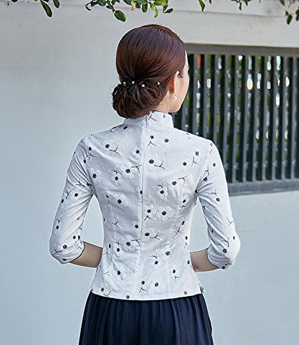 Fleur en Blouse T Chanvre 4 Tang Coton shirt Veste Manche ACVIP Traditionnel Motif 3 Femme Chinois de de Blanc pqgwf5nxv6