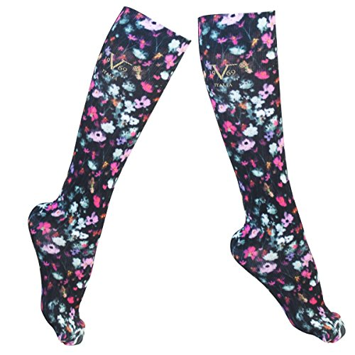 Compression Socks - V19.69 Italia - Alessandro Versace - Best Socks for Travel, Running, Athletes, Pregnancy, Medical, Varicose Veins, Edema, Diabetic - Floral Design - L/XL (W 10-13 / M - Versace Floral