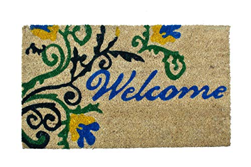 Welcome 30 Mat - Welcome Doormat Non Slip Rubber Backing Indoor Outdoor Natural Coir Door Mat Mud and Dirt Trapper All Weather for Out door Entrance, Entry Way Front Door, Patio, Garage, High Traffic Areas 18 x 30