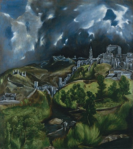 View of Toledo - Masterpiece Classic - Artist: El Greco c. 1596 (9x12 Collectible Art Print, Wall Decor Travel (Greco Painting)