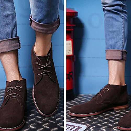 Top Style Fashion Leather Martin Desert PP High Men's Western Coffee Suede Boots Shoes Casual BnqYf