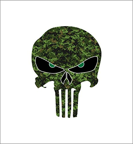 Camoflauge Punisher Skull with Green Reflective Eyes Camo Sniper American Flag Vinyl Decal Sticker Car Truck 4