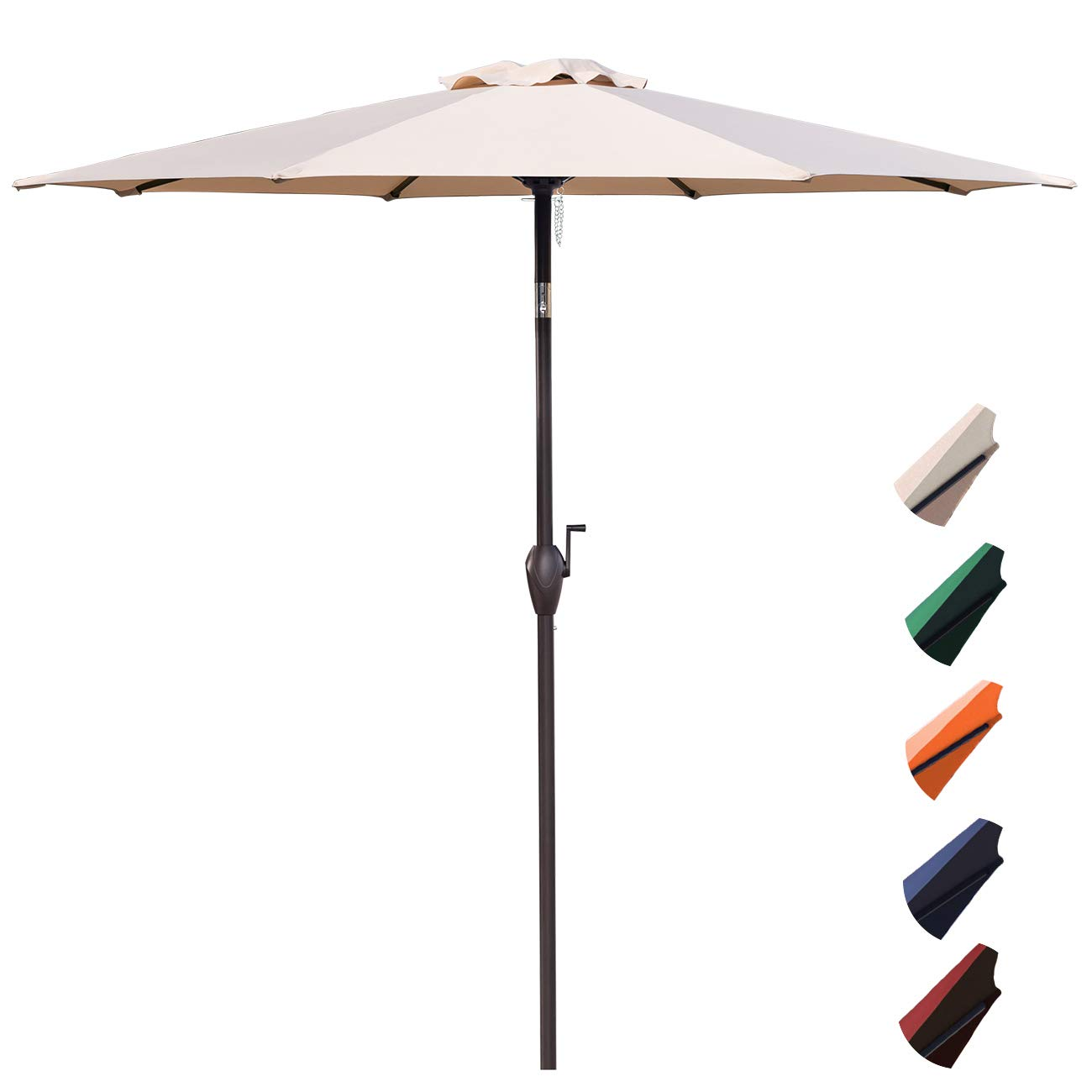 RUBEDER 9' Patio Umbrella Outdoor Market Table Umbrella with 8 Sturdy Ribs,Wing Vent,Push Button Tilt & Crank (9 Ft, Beige 2)