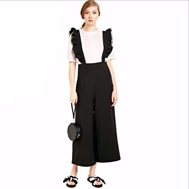 87173a53aa0 Amazon.com  Womens Solid Black Ruffle Patchwork Casual Jumpsuit ...