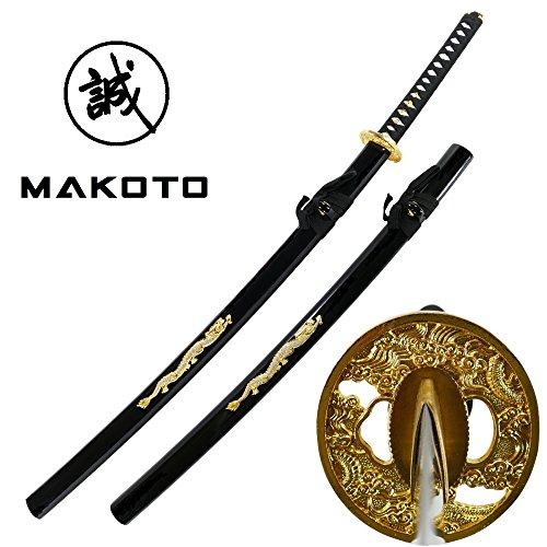 Makoto Hand Forged Sharp Samurai Sword   Crystal Golden Dragon On Saya