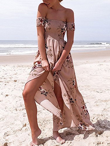 Nuda Abito Cocktail Spacco Partito Vestito Vestiti Elevesee lo Lungo Spiaggia Albicocca Vestito Spalla Eleganti Donna Estivi con Vestiti Abito nzxwqnBTOv