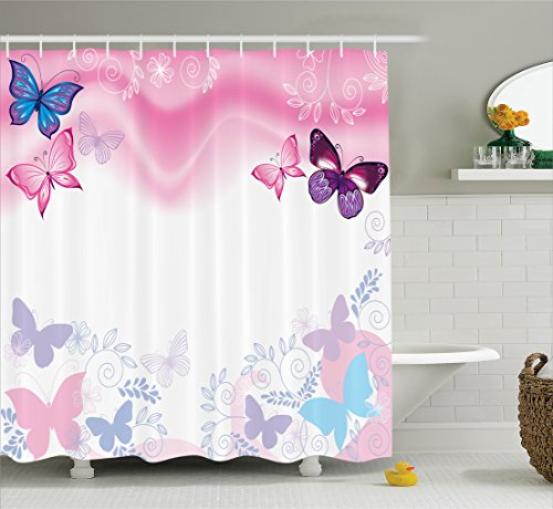 Fun Time Butterfly Accent - Ambesonne Teen Girls Decor Collection, Flowers and Butterflies Curly Wavy Leaves Insect Summertime Artistic Design, Polyester Fabric Bathroom Shower Curtain, 84 Inches Extra Long, Blue Pink White