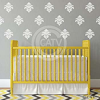 Damask Set Of 18 Vinyl Wall Decal Self Adhesive Wall Pattern Stickers  (White) Part 56