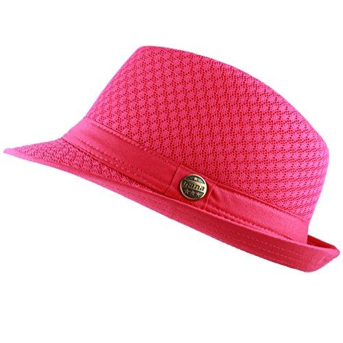 THE HAT DEPOT 200G1015 Light Weight Classic Soft Cool Mesh Fedora hat (L/XL, Hot Pink) -