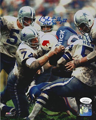 (Bob Lilly #74 Dallas Cowboys Autographed Football 8 x 10 Photo (JSA COA) HOF Inscription Included)