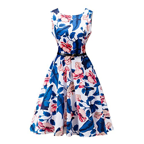 Women's Vintage 1950's Blue Flower Floral Dress Party Cocktail Retro Prom Dresses,Size (Pin Up Girl Costumes Images)