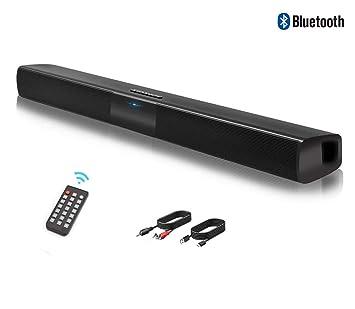 Barra de Sonido, Altavoz, Bluetooth Altavoz con Cable e inalámbrico, Altavoz estéreo HD con Mando a Distancia, Ranura para Tarjeta TF, Compatible para ...