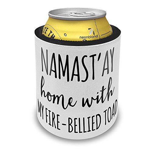 NEONBLOND Namast'ay Home With My Fire-Bellied Toad Simple Sayings Slap Can Cooler Insulator Sleeve