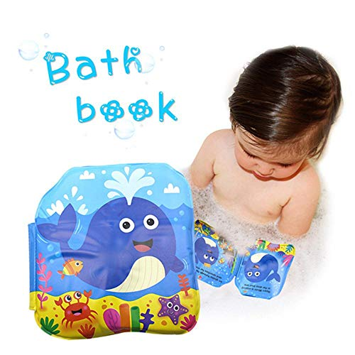 Volwco Floating Baby Bath Books with Fun Story and Sea Creatures Illustration, Nontoxic Soft Floating Sound Books for Kids Early Educational Infant Learning Bath Toys (Interactive Whale Book)