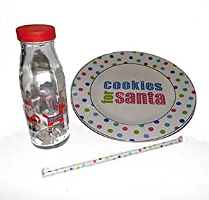 Cookies for Santa Ceramic Plate and Small Glass Holiday Milk Jug with Straw for Christmas