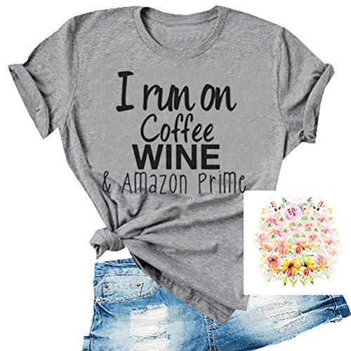 YourTops Women I Run On Coffe Wine & Amazon Prime T-Shirt Graphic Shirt (US XL, 1-Grey)