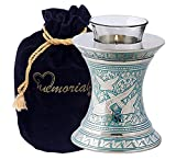 MEMORIALS 4U Wings of Freedom Brass Cremation Urn for Human Ashes - Solid Brass Returning Home Urn - Handcrafted Affordable Urn for Ashes - Going Home Urn with Free Velvet Bag or Box (Tealight)