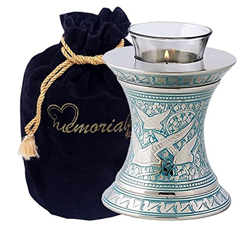 Light Urn - MEMORIALS 4U Wings of Freedom Brass Cremation Urn for Human Ashes - Solid Brass Returning Home Urn - Handcrafted Affordable Urn for Ashes - Going Home Urn with Free Velvet Bag or Box (Tealight)