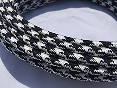 Black and White Houndstooth Cotton Covered Cord - 25' 18/2 Round Cloth Cord by Industrial Rewind