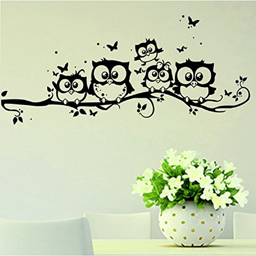 FiveRen 2 PCS Vinyl Art Cartoon Family Owls On The Tree Branches Wall Decal Removable Stickers for Kids Babys Children rooms Home living room bedroom bathroom kitchen Office Wallpaper TV - You How Adjust Frames Glasses Do