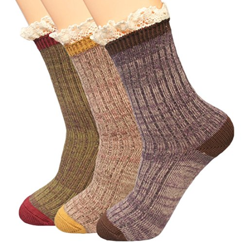 kilofly Women's Lace Trim Slouch Crew Socks Value Pack, Set of 3 Pairs (Argyle Lace)