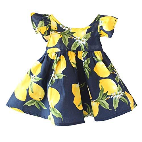 VADOLY Kids Dress Fly Sleeve Sundress Lemon Pattern Baby Girls Dresses Summer Clothes