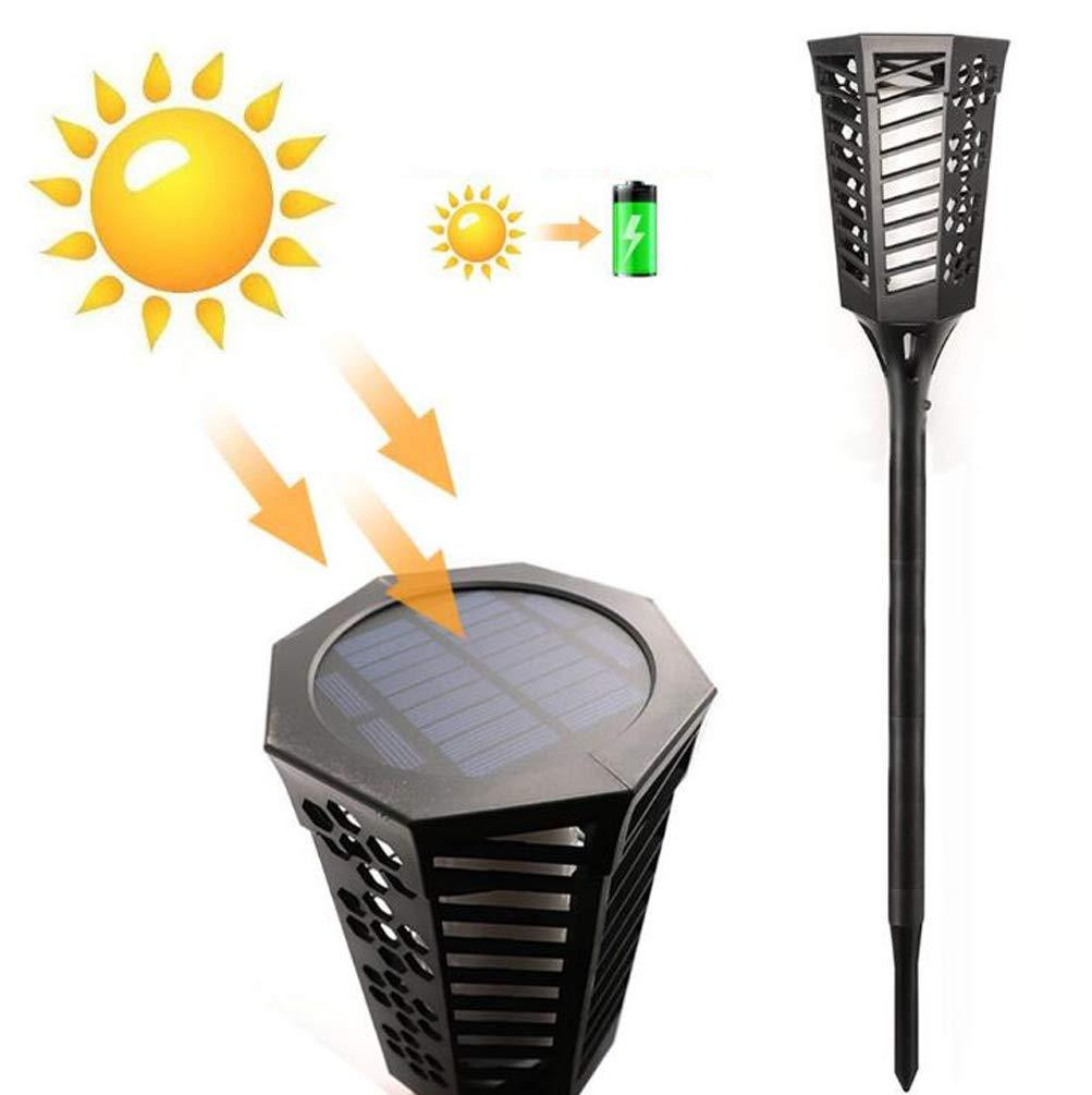 CYMIU Luci solari, 96 LED Solar Powered Flickering Flames Paesaggio Decorazione Illuminazione Multiuso all'aperto per Parete Giardino Patio Yard Lamp
