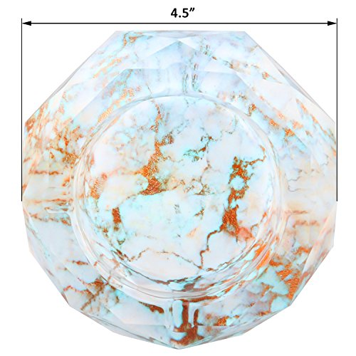 Kufox Luxury Marbling Crystal Cigarette Ashtray Ash Holder Case,Home Living Room Desk Decor (Light Cyan Marbling)