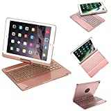 YOUNGFUN iPad 9.7 Case with Keyboard for 2018&2017 iPad 9.7,iPad Pro 9.7,iPad Air 1,iPad Air 2 - Built-in 7 Colors Backlight&Breathing Light, Aluminum Alloy Material, 360 Degree Rotation (Rose Gold)