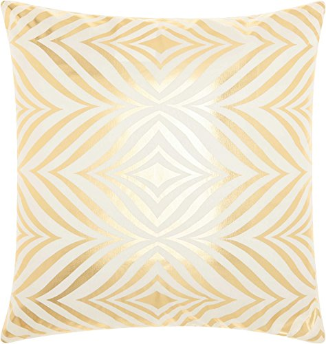 Nourison Mina Victory L9294 Diamond Zebra Mina Victory Diamond Zebra Ivory Gold Decorative Pillow, 18