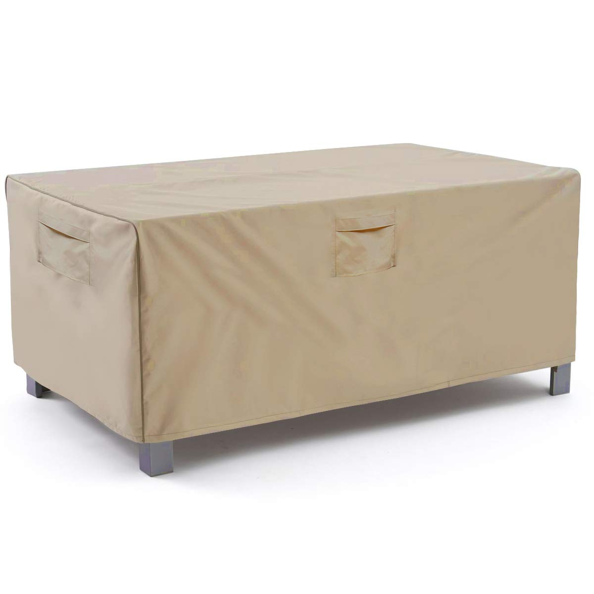 Vailge Veranda Rectangular/Oval Patio Table Cover, Heavy Duty and Waterproof Outdoor Lawn Patio Furniture Covers,Large Beige