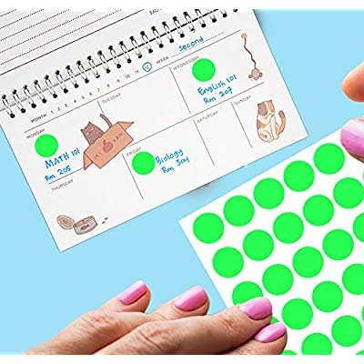 Royal Green Kids Colored Round dots ½ inch (0.5) Art Crafts and Games Stickers -1280 Pack 15 Colors 16 Sheets: Arts, Crafts & Sewing