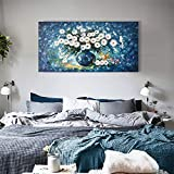 Diathou Blue Flower Oil Painting, 3D Hand-Painted