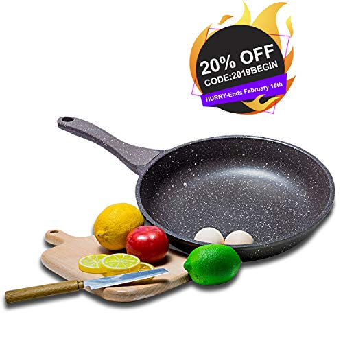 KI 8 Inch Nonstick Frying Pan Stone-Derived Ceramic Non-Stick Coating, Die-Casting Aluminum Cookware, For Stovetop and Induction, 1 Year Warranty