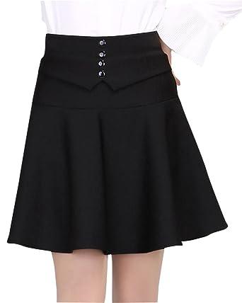 Femme Élasticité Haute Taille Mini Jupe Plissé Courte Évasé Couleur Unie Jupes  Noir XL 076e2400b859