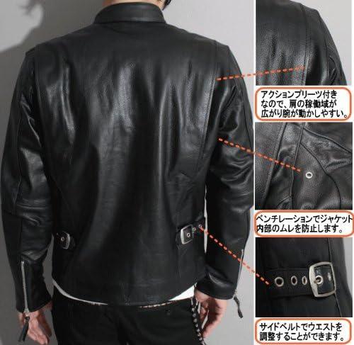 【本革】革ジャン バッファローレザー メンズ シングルライダースレザージャケットpb-1107 (キャメル, 38(M))