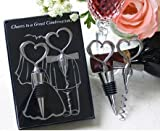Love and Hearts 2 Pieces ''Cheers to a Great Combination'' Wine Corkscrew and Stopper (100, Black)