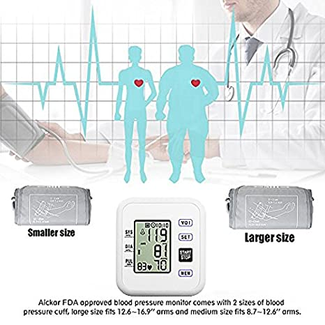 Amazon.com: WEILIGU Blood Pressure Monitor Upper Arm Digital Smart BP Meter with Large Display FDA Approved Included Storage Bag: Health & Personal Care