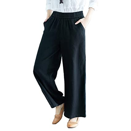 Summer Casual Loose Elastic Waist Cotton Linen Straight Wide Leg Pants Trousers